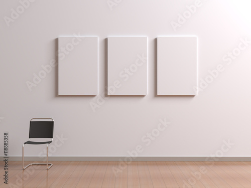 Interior with chair for visitors or staff member, posters template ...