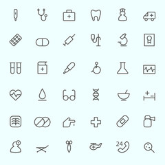 Medical and health care icons, simple and thin line design