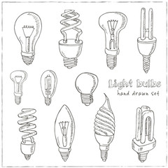 Doodle Set of light bulbs Vector