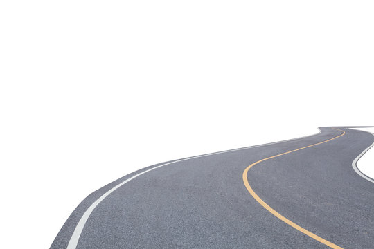 Abstract asphalt road isolated on white background