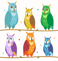 Cute Colorful Owl Set on the Branch. Vector