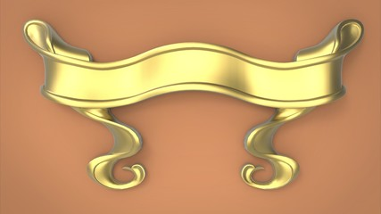 3d illustration of decorative ribbon. peach background isolated. icon for game web.