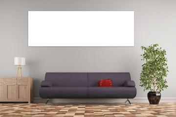 Panorama Bild an Wand im Wohnzimmer