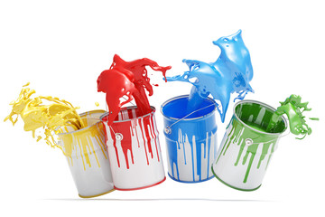 Vier Eimer Farbe mit bunten Spritzern