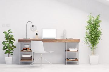 Arbeitsplatz mit Schreibtisch im Büro