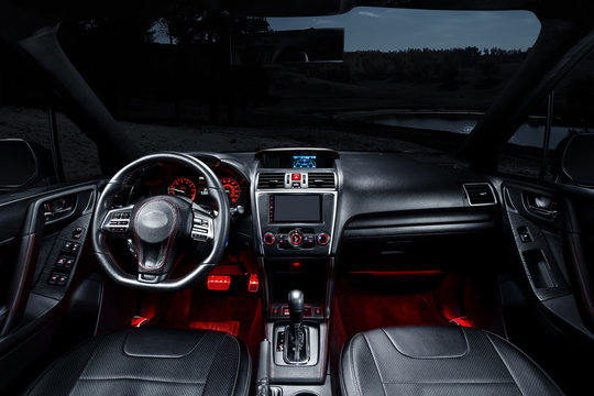 Modern interior of premium car with leather seats