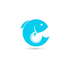 Template of round logo with fish. Creative vector template of fishing club logo or fishing online shop. Icon of fish isolated on white background.