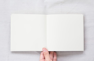 Opened blank no lined  notebook
