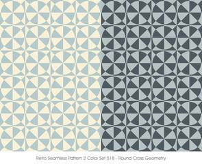 Retro Seamless Pattern 2 Color Set_518 Round Cross Geometry