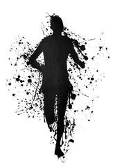 Black silhouette of a runner on ink splatter