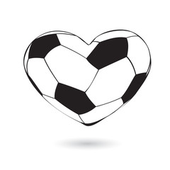Football in heart shape. soccer ball shaped as a heart isolated on white background. vector illustration