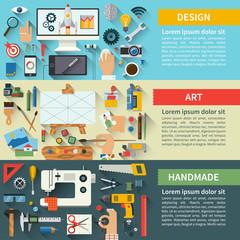 Set of flat design concepts of creative process. Fine art, web design, handmade. Vector illustration