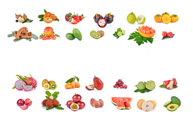 mixed fruit on white background with space