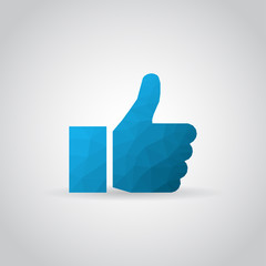 Thumb up icon in polygonal style on a gray background