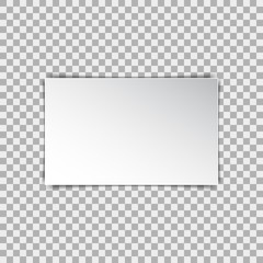 White blank poster mockup, sheet of paper on isolated background. Vector illustration
