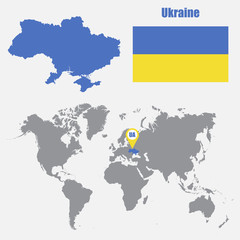 Ukraine map on a world map with flag and map pointer. Vector illustration