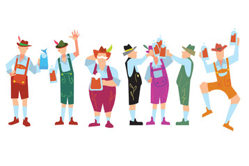 Oktoberfes people in lederhosen on autumn beer festival in Germany vector illustration