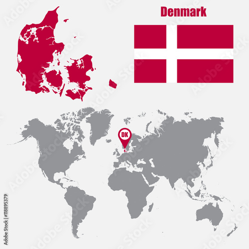 Denmark map on a world map with flag and map pointer vector denmark map on a world map with flag and map pointer vector illustration gumiabroncs Gallery