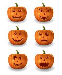 Vector set of halloween pumpkins.