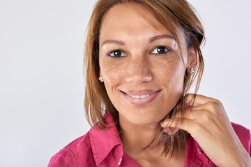 Mixed race woman portrait in studio