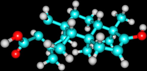 Steviol molecular structure isolated on black