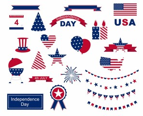 USA celebration flat national symbols set for independence day isolated on white background