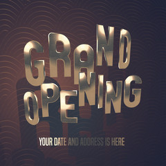 Grand opening vector illustration, banner, background