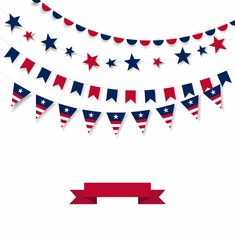 Happy Independence Day banner. White background with a garland from American flags. American Independence Day celebration poster, vector illustration.