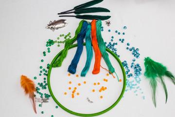 set for making a Dreamcatcher, beads, thread