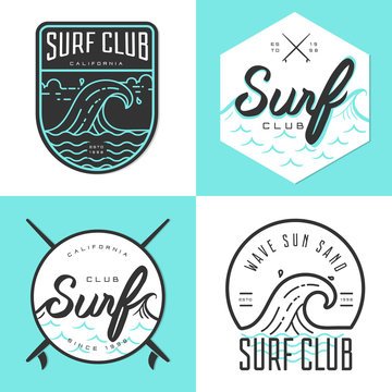 Set of logo, badges, banners, emblem and elements for surf club. Vector illustration