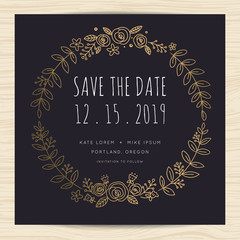 Save the date, wedding invitation card template with hand draw wreath frame. flower wreath. Vector illustration.