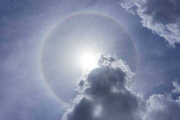 Sun and halo ring and cloud on Blue sky in sunny day.