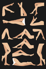 Woman legs in different poses set. Elegant lying, standing, and sitting legs positions. Legs design elements