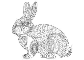 Coloring Page rabbit. Hand Drawn vintage doodle bunny vector ill