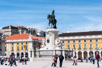Lisbon's city center at Arco da Rua Augusta in Portugal