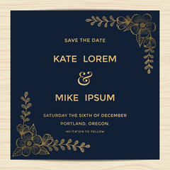 Save the date, wedding invitation card template with hand drawn flower in golden and navy blue color. Minimal design. Vector illustration.