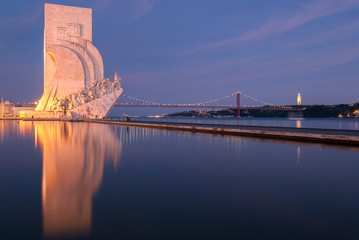 Padrão dos Descobrimentos reflections at night Lisbon Portugal