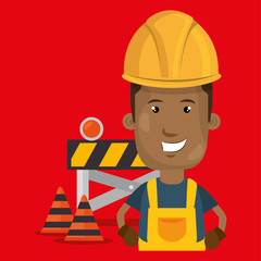 under construction worker vector illustration design eps 10