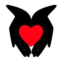 Силуэт руки с сердцем, надежда