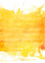 Golden yellow watercolor texture with faded sheet music, vector