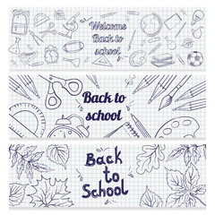 Set of banners with school supplies.