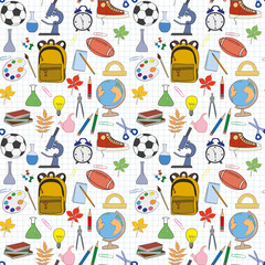 Seamless pattern with stationery