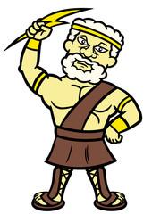 Zeus Cartoon Character Isolated on White