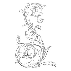 Vintage element engraving with retro ornament pattern in antique rococo style decorative design. Royal element of Design on a white background. You can use for wedding invitation.
