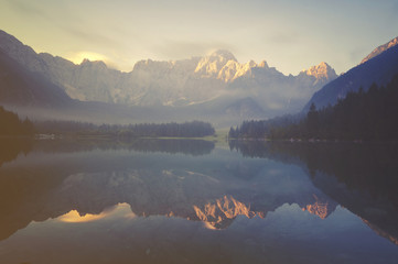 Wall Murals mountain lake in the Italian Alps,retro colors, vintage