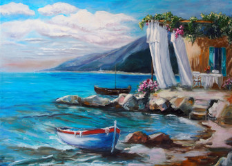 Art Oil-Painting Picture Resting On The Sea / House Near the Water with Beautiful View to the Sea.