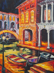 Art Oil-Painting Picture Venice in the Night. Italy