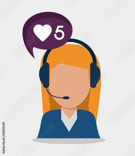 """woman Headphone Bubble Avatar Call Center Technical"
