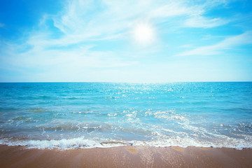 Beautiful beach sea summer sunny background - Leisure summer concept