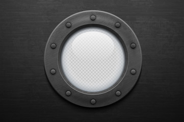 Illustration of a iron porthole with glass on brushed metal background. Rivets mount.
